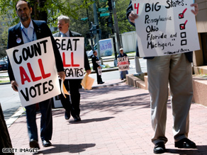Both Clinton and Obama supporters are planning to protest outside Saturday's RBC meeting in Washington.