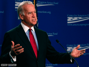 Joe Biden speaks at the Center for American Progress