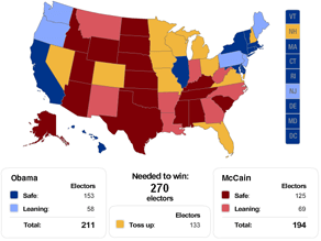 CNN's breakdown of the electoral college map.