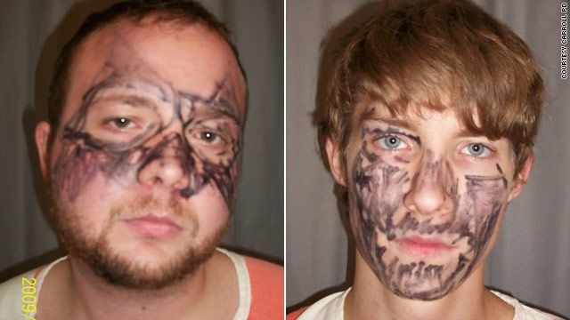Matthew Allan McNelly, left, and Joey Lee Miller, 20, still had the permanent marker on their faces when they were booked.