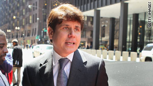 Former Illinois governor Rod Blagojevich, shown at an earlier hearing, goes on trial today in Chicago for racketeering and fraud.