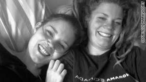 """""""Hope resounds. I am not dying. I am living living living more each day."""" Markvoort is seen here with her sister, Annie."""