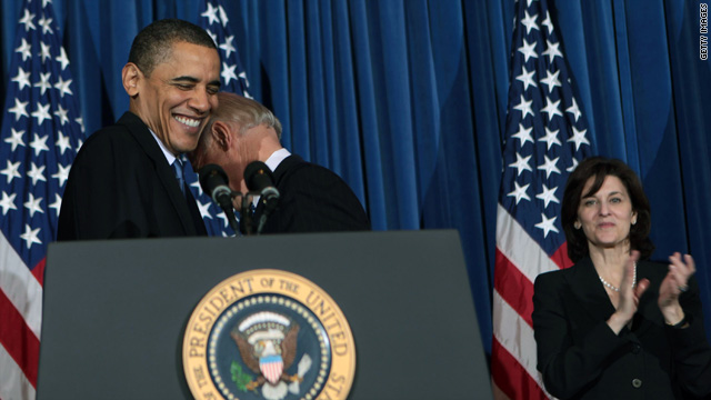 Vice President Joe Biden turns from the mic after using an expletive in speaking with President Obama.