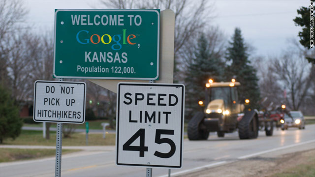 A CNN photo illustration welcomes travelers to Topeka, which  changed its name temporarily to attract a Google project.