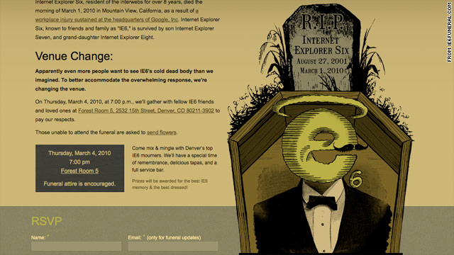 "A Denver, Colorado, design firm posted this invitation to Thursday's ""funeral"" for Internet Explorer 6."