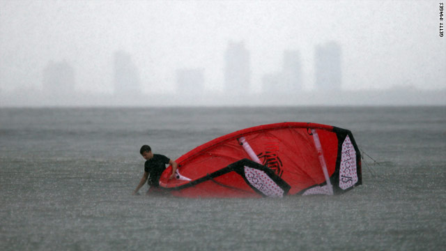 This kite surfer in Miami, Florida, encountered heavy rain as Hurricane Earl approached the East Coast.