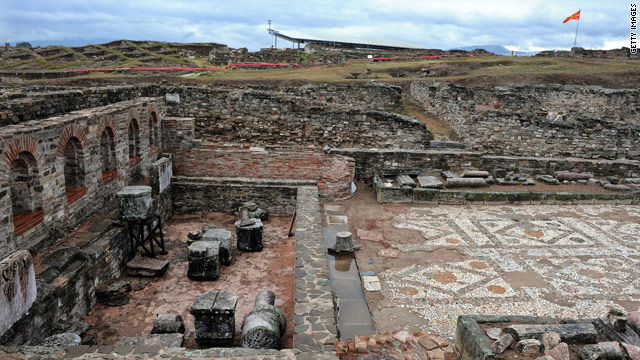 The famous mosaics of the ancient Roman archeological site of Stobi, in southeast Macedonia