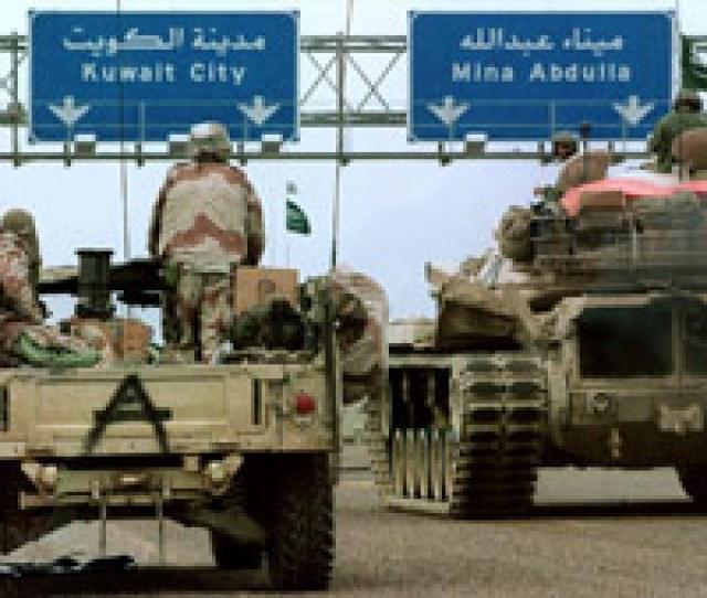 U S And Saudi Vehicles Drive Toward Kuwait City In 1991 During Operation Desert Storm