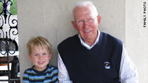 On an outing with his first grandson, Donovan, in 2008.