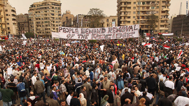 Protesters rally in Cairo's Tahrir Square on Tuesday. Tens of thousands gathered to demand that President Mubarak step down.