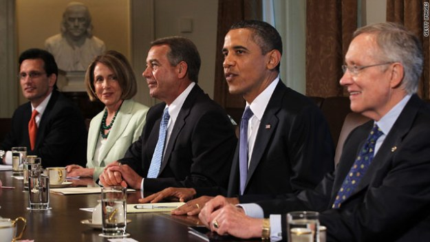When congressional leaders met with President Obama this month, the participants were all men, except for Nancy Pelosi.