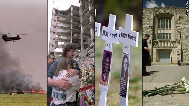 Da sinistra, l'assedio di Waco, l'attentato di Oklahoma City, memoriale per le vittime Columbine e del Virginia Tech Norris Sala