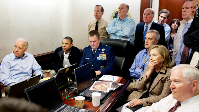 President Barack Obama and his national security team watch updates on the mission to capture Osama bin Laden on Sunday.