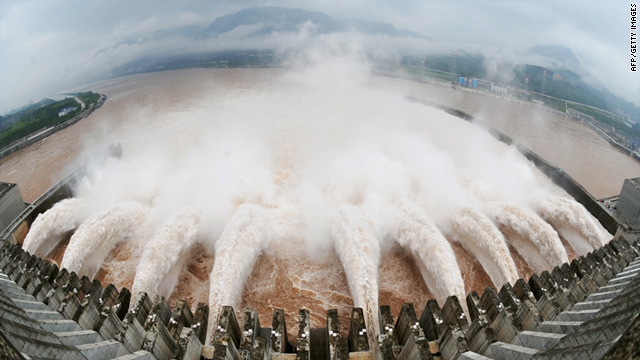 Water is released from the sluice for flood prevention at the Three Gorges Dam in Yichang on July 20, 2010.