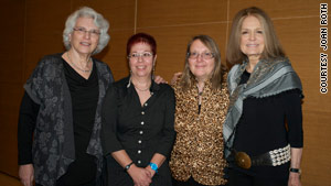 From left to right, are Rochelle Saidel, Nava Semel, Sonja Hedgepeth and Gloria Steinem in Brooklyn, New York.