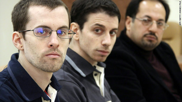 Shane Bauer, left, and Josh Fattal, center, are shown on trial at the Tehran Revolutionary Court in the Iranian capital in February.
