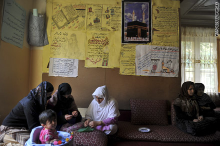 Women receive life-skill and literacy classes in the Afghan shelters run by Women for Afghan Women.