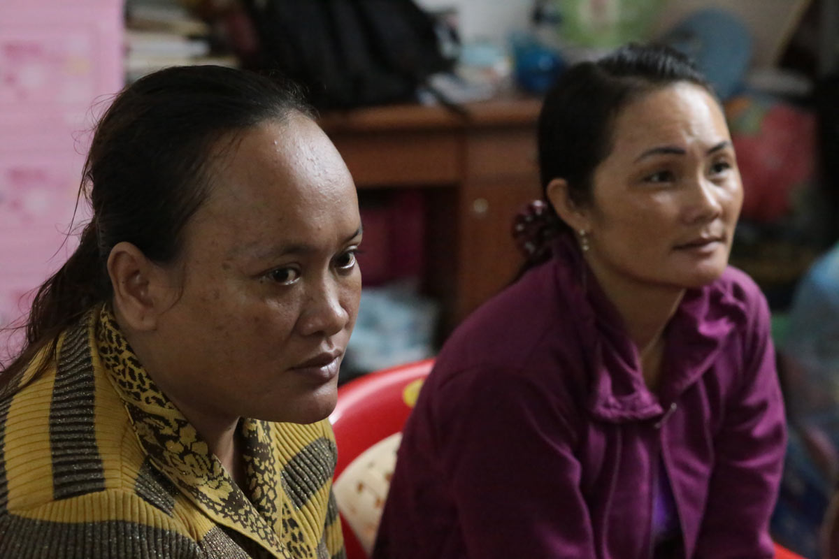 Sephak's mother Ann (left), and Kieu's mother Neoung, are cousins and live nearby each other. Like many mothers in Svay Pak, when times were tough for their families financially, they saw selling their daughters' virginity as a way to make money. Both say they now regret the decision.