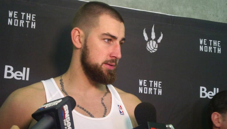 Toronto Raptors Centre, Jonas Valanciunas talks to the media in Vancouver.