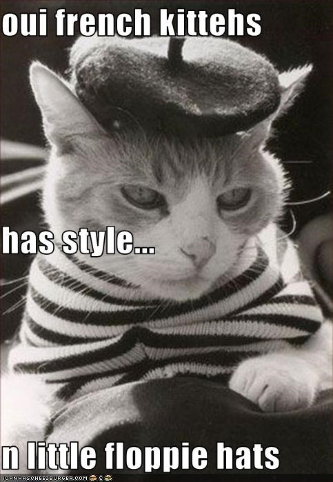 Oui French Kittehs Has Style N Little Floppie Hats Cheezburger Funny Memes Funny Pictures