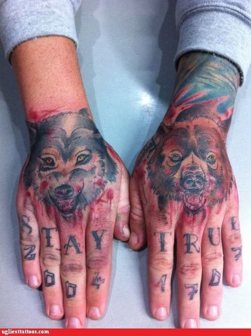 Ugliest Tattoos Wolf Bad Tattoos Of Horrible Fail Situations