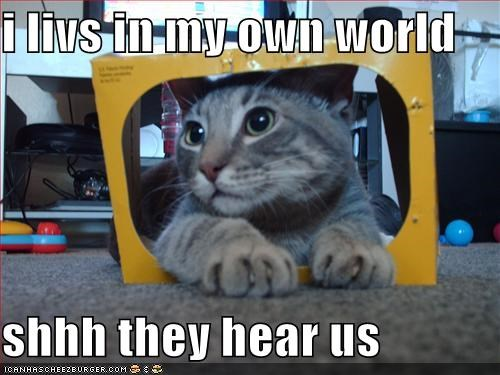I Livs In My Own World Shhh They Hear Us Cheezburger Funny