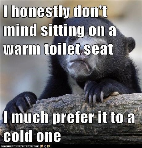 I Honestly Don T Mind Sitting On A Warm Toilet Seat I Much Prefer