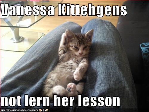 Vanessa Kittehgens Not Lern Her Lesson Cheezburger Funny Memes