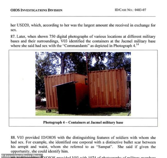 This image made from part of a U.N. internal investigation document dated Nov. 19, 2007 shows shipping containers at the U.N. military base in Jacmel, Haiti, where a girl, 14, said she had sex with 'Commandants.' The teenager said she and others had sex with Sri Lankan soldiers in exchange for food and money, usually between $1 and $5