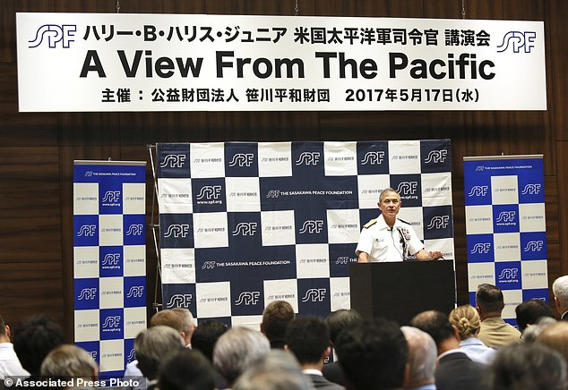 U.S. Pacific Command Commander Adm. Harry Harris Jr. delivers a speech at the Sasakawa Peace Foundation, Wednesday, May 17, 2017, in Tokyo. (AP Photo/Eugene Hoshiko)