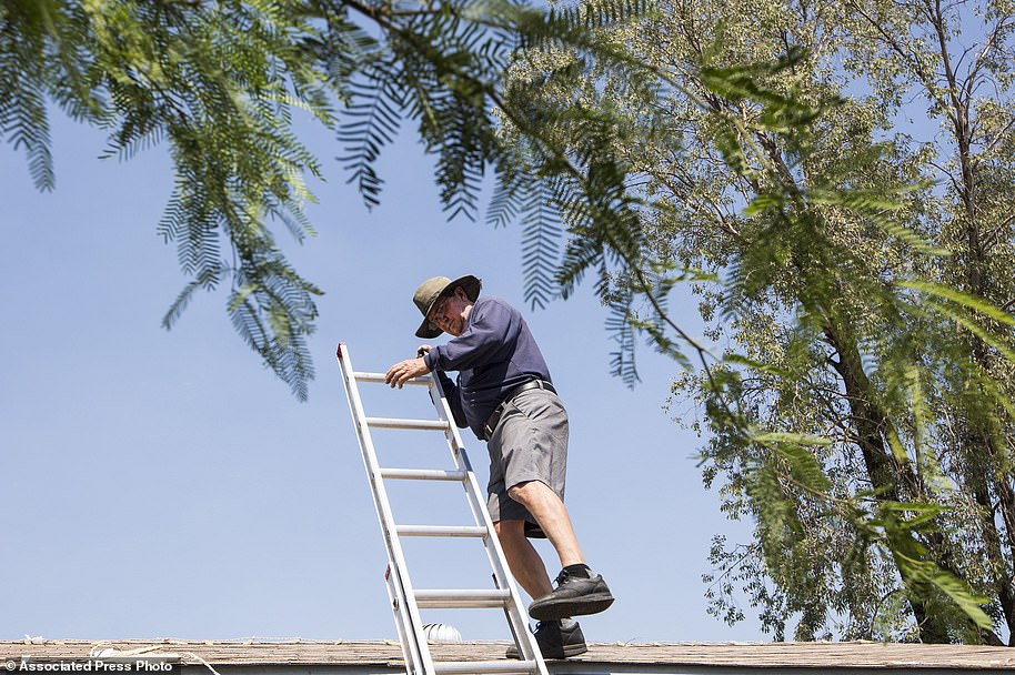 Schwandt said he knew early Monday that it was going to be busy thanks to the extremely hot temperatures. He is pictured above climbing down a ladder to grab supplies from his truck while fixing a rooftop unit in Tempe, Arizona on Monday