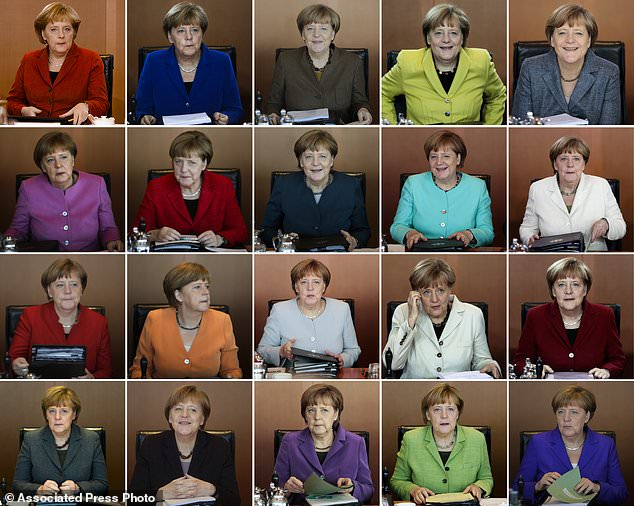 FILE - In this combo from file photo German Chancellor Angela Merkel leads the weekly cabinet meeting of her government at the chancellery in Berlin. Merkel has been at the helm of the German government since 2005 and wants to add a fourth four-year term. Merkel is favored to win the Sept. 24, 2017 parliament election. (AP Photos/Markus Schreiber, file)