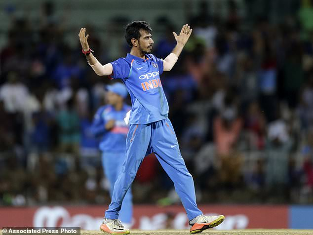 Indian cricket player Yuzvendra Chahal celebrates after taking Glenn Maxwell's wicket during the first one-day international cricket match between India and Australia in Chennai, India, Sunday, Sept. 17, 2017. (AP Photo/Rajanish Kakade)