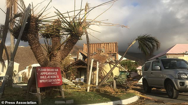 Hurricane debris on Grand Turk in the Turks and Caicos Islands