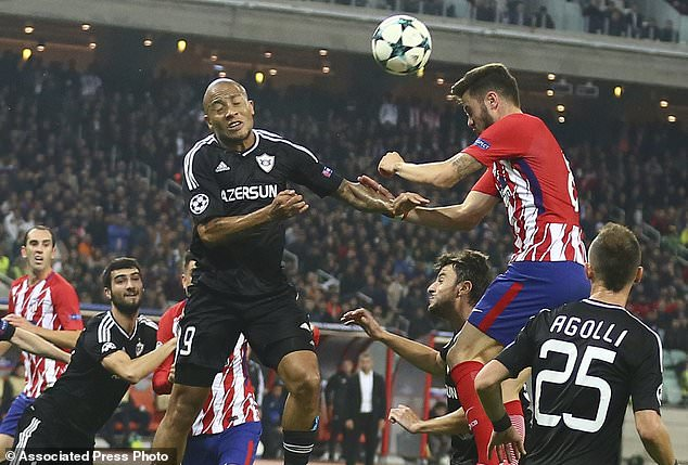 Image result for images of dino ndlovu in qarabag against atletico madrid