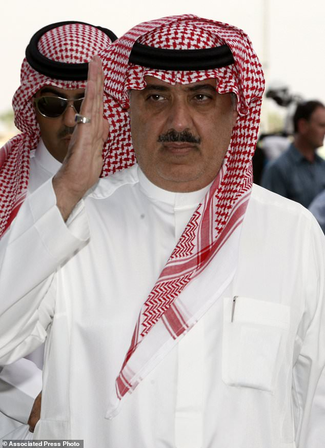 FILE - In this Oct. 23, 2008 file photo, Prince Miteb bin Abdul Aziz, son of Saudi King Abdullah bin Abdul Aziz al-Saud, salutes as leaves the equestrian club following a horse racing competition in Janadriyah in the outskirts of the Saudi capital Riyadh, Saudi Arabia. The king ousted one of the country's highest-level royals from power, relieving Prince Miteb bin Abdullah of his post as head of the National Guard. (AP Photo/Hassan Ammar, File)