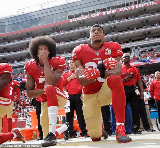 The movement was started last year by former San Francisco 49ers quarterback Colin Kaepernick, who kneeled to protest what he said was police mistreatment of blacks. He is pictured above left with safety Eric Reid in October 2016