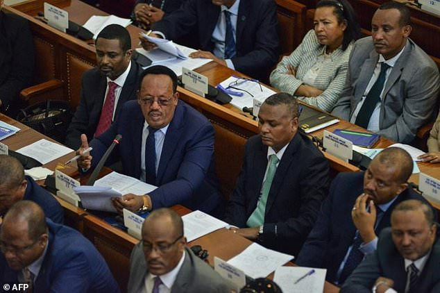 Debate in parliament on March 2 during a vote on the state of emergency in Ethiopia. The governing coalition is facing an unprecedented tussle as it seeks a new prime minister after Hailemariam Desalegn's shock resignation