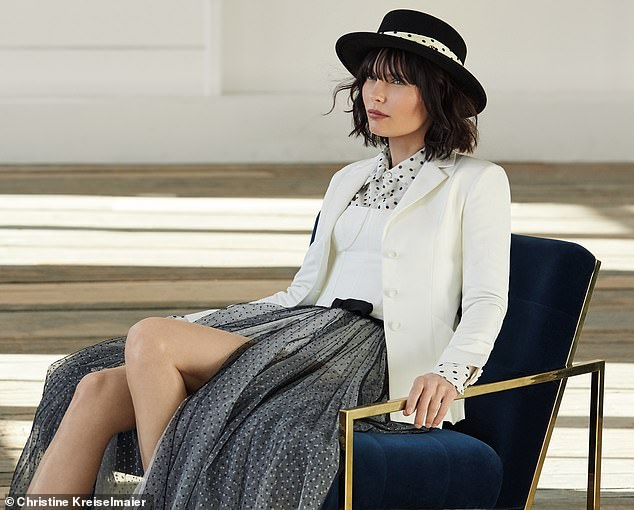 Jacket, £2,450; Playsuit, £1,550; Shirt, £1,250, and Skirt, £3,600, all Dior. Hat, £525, Maison Michel, from Harrods.