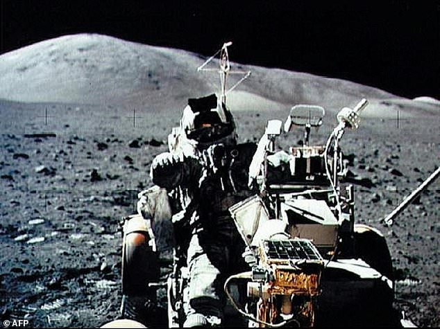 The last time US astronauts visited the Moon was the Apollo 17 mission of December 1972. This image shows astronaut Harrison H. Schmitt seated in the Lunar Roving Vehicle on the surface of the moon on December 13, 1972