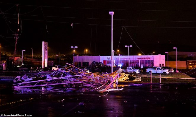 The greatest damage was concentrated in Wyoming Valley Mall, debris pictured in parking lot right after the storm