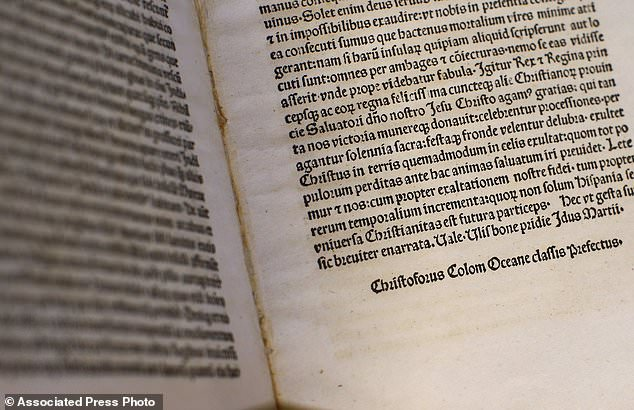 A detail of a page of an authentic 15th Century copy of a letter written by Columbus displayed at the Vatican on Thursday