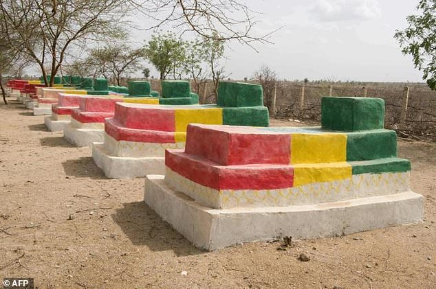 The graves of Ethiopian soldiers who died in the fighting with Eritrea are painted in the colors of the Ethiopian flag in the disputed border town of Badme