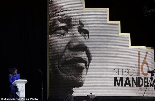 Address: Graca Machel, Nelson Mandela's widow, spoke before Obama at the Wanderers Stadium in Johannesburg, South Africa, marking 100 years since his birth