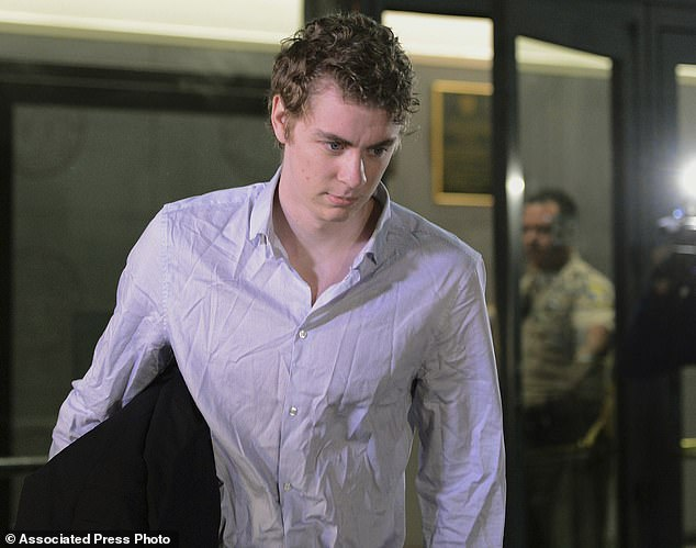 Former Stanford University swimmer Brock Turner lost his bid for a new trial after an appeals court on Wednesday upheld his sexual assault and attempted rape convictions. Turner is pictured above in September 2016