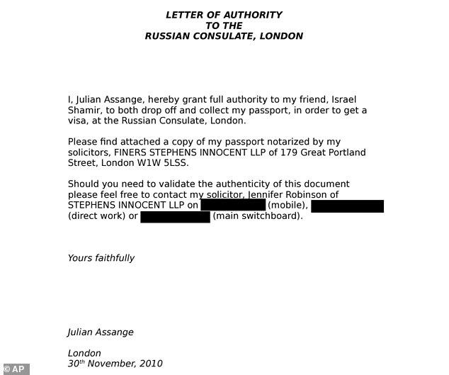 A letter has revealed how Julian Assange applied for a Russian visa two years before resorting to hiding in Ecuador's London Embassy to avoid extradition over rape claims