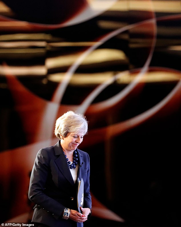 Theresa May, pictured delivering a speech in London yesterday morning, before she headed to Salzburg for the summit
