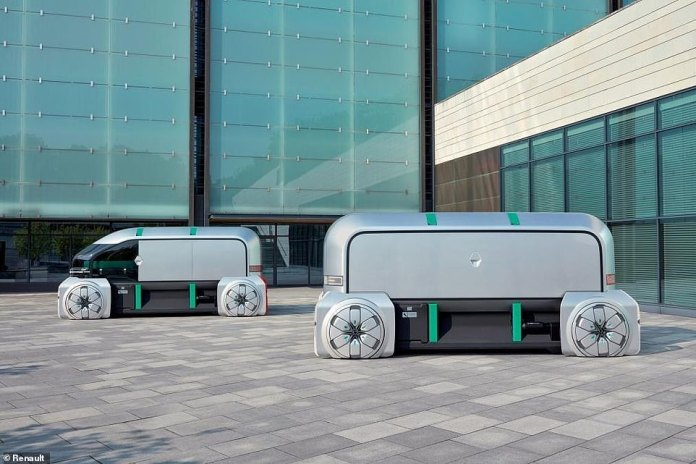 The pods can also be customised according to the needs of the firm that has purchased them. Renault has teamed up with a coffee supplier, champagne company, chocolate manufacturer and delivery firm to show off various configurations to suit these needs