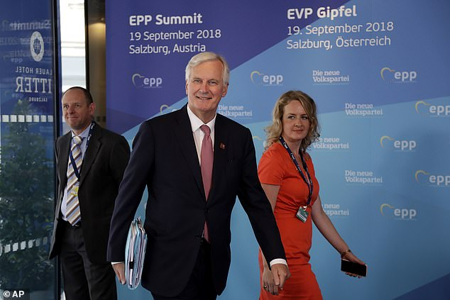 Michel Barnier (pictured in Salzburg on Wednesday) has said he wants to 'improve' the EU's proposals on the Irish border