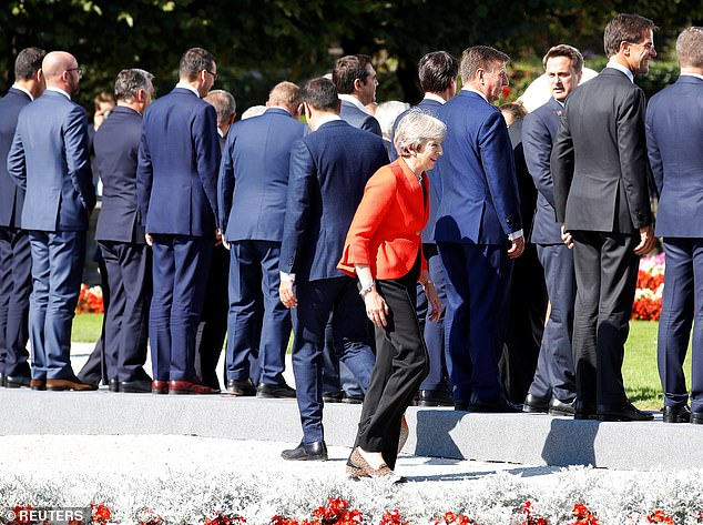 Theresa May (pictured in Salzburg) was left isolated at the summit after leaders turned on her Chequers plan for Brexit
